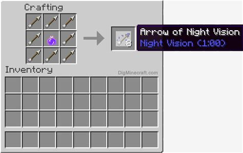 How to make an Arrow of Night Vision (1:00) in Minecraft