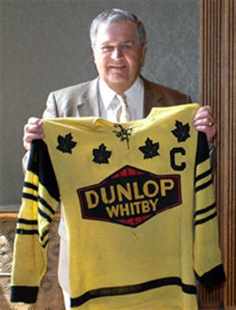 Harry Sinden proudly showing off his Whitby Dunlops