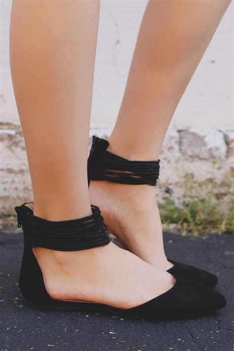 Black Strappy Ankle Pointed Toe Flats Pippa-152 | Prom