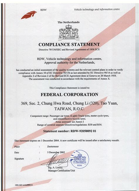Federal Tyres - Corporate - Certificate & Awards