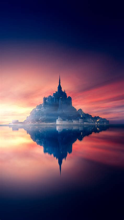 Wallpaper Castle, Sunset, Reflections, HD, 5K, Photography