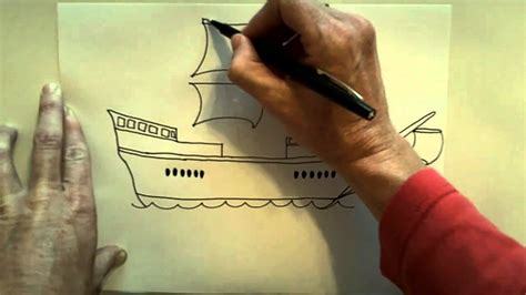 How to draw a Christoper Columbus ship - YouTube