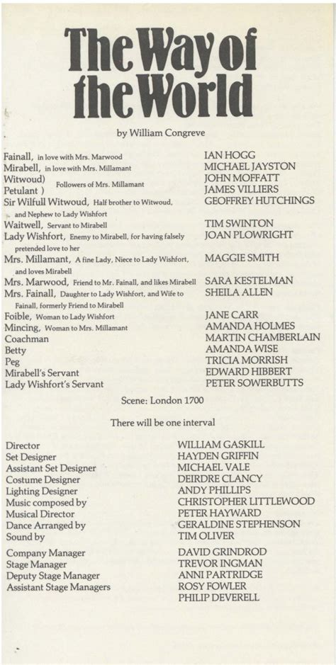 Cast List, The Way of the World (1984) – Pass It On